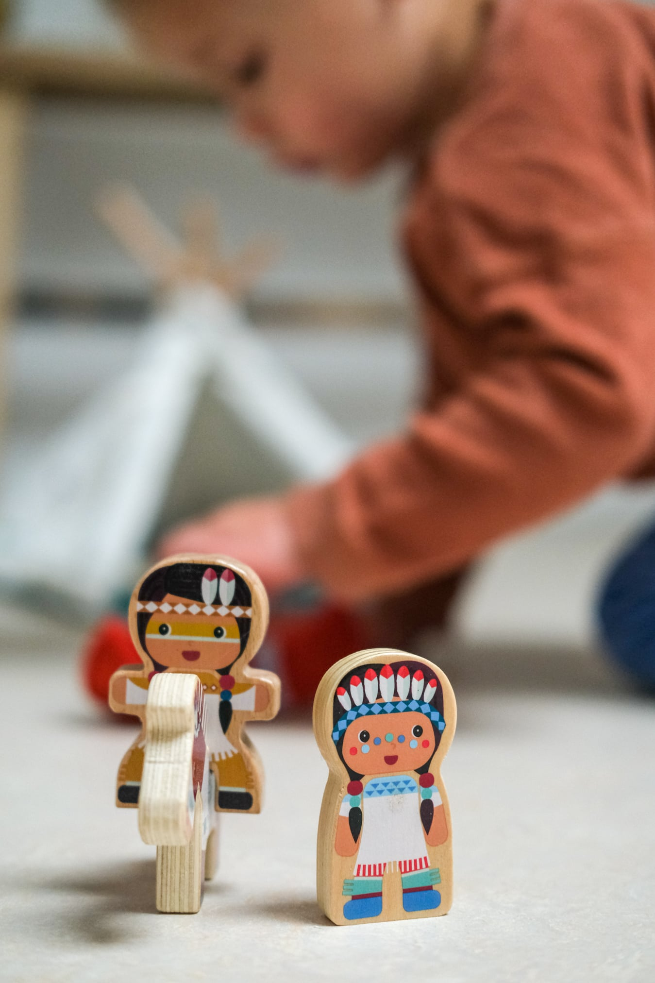 wigwam met indianen hout speelgoed
