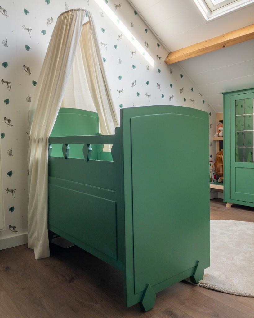 vintage ledikant groen