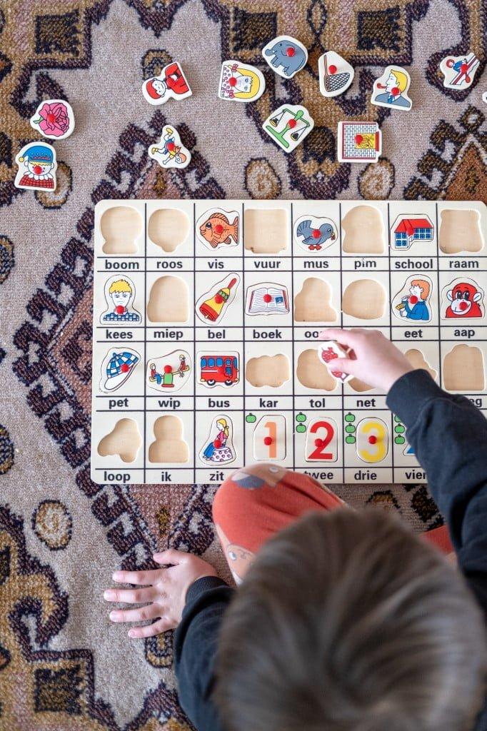 leren lezen puzzel kleuters