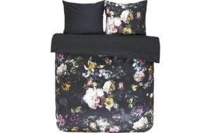 zwart dekbedovertrek met grote bloemen