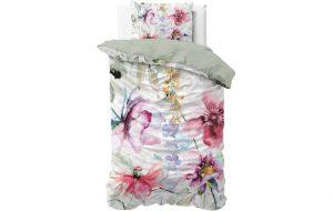 wit dekbed met kleurige bloemenprint