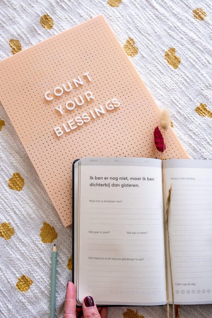 voorbeeld dankbaarheidsdagboek pagina